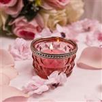定制颜色 8*9玻璃烛台 喷色电镀烛杯 400ml圆形条纹蜡烛杯