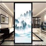 宁波山水画夹丝玻璃